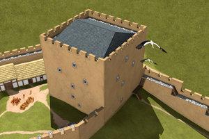 Archeológovia robili výskum aj na zvolenskom Pustom hrade, rekonštrukcia zobrazuje mohutnú vežu - donjon v 13. storočí.