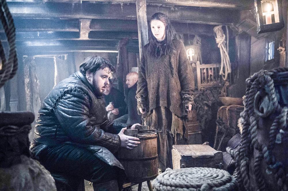 John Bradley-Wes ako Samwell Tarly a Hannah Murray ako Gilly. Kam cestujú na lodi?