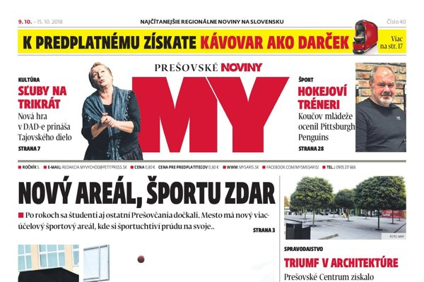 Titulná strana týždenníka MY Prešovské noviny č. 40/2018.