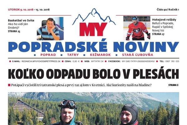 Titulná strana týždenníka MY Popradské noviny č. 40/2018.