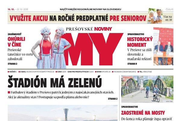 Titulná strana týždenníka MY Prešovské noviny č. 41/2018.