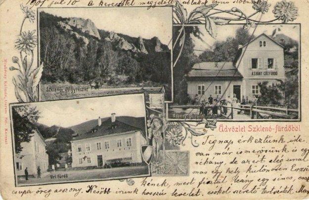 Stará pohľadnica, ktorá inšpirovala autora k napísaniu knihy o kúpeľoch.
