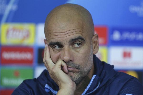 Tréner Manchestru City Pep Guardiola na tlačovej konferencii pred skupinovým zápasom proti Šachtaru Doneck.