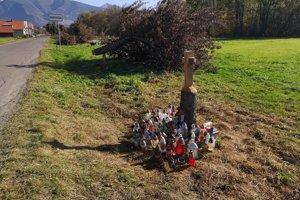 Vypílené stromy pred Bobrovčekom a jabloň, do ktorej mladík narazil.