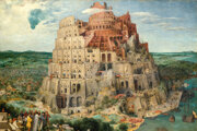 Neskutočné perspektívy: divák vidí vonkajšok aj vnútro babylonskej veže spoločne s ohromným ľudským chaosom.