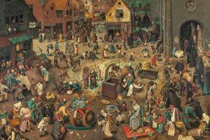 Bruegelov obraz Spor fašiangov s pôstom: sprava od kostola prichádza symbol pôstu, zľava fašiangov.