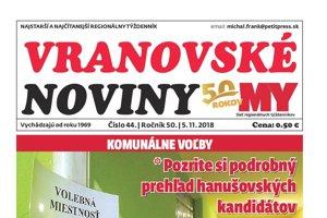 Titulná strana týždenníka Vranovské noviny č. 44/2018.