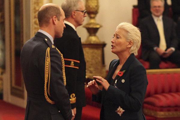 Britská herečka Emma Thompsonová v rozhovore s britským princom Williamom.