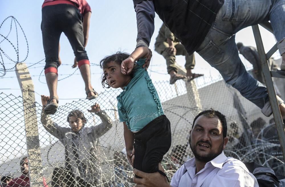 Utečenec zo Sýrie drží mladé dievča na hranici s Tureckom. (Tretia cena, príbehy). Bulent Kilic/World Press Photo.