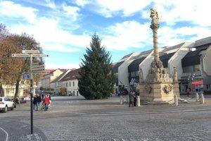 Strom už stojí na námestí.