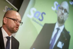 Predseda strany SaS Richard Sulík počas Programovej konferencie strany.