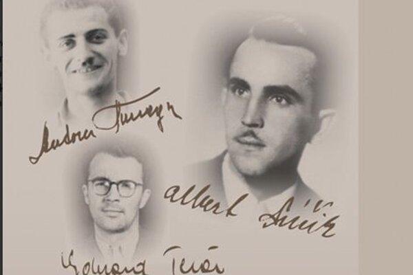 Trojica absolventov trenčianskeho štátneho reálneho gymnázia - Albert Púčik, Anton Tunega a Eduard Tesár.