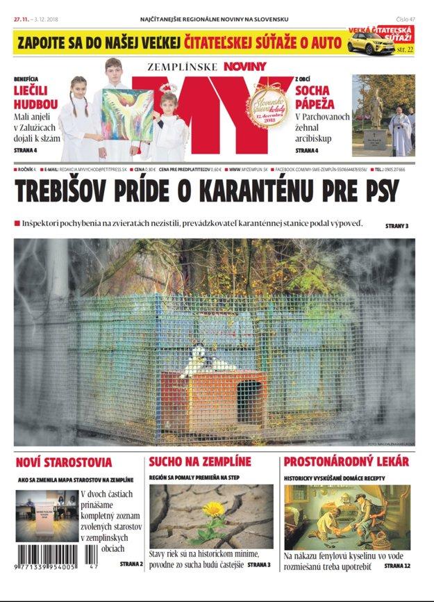 Titulka nového vydania týždenníka MY Zemplínske noviny č.47.