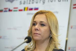 : Na snímke ministerka vnútra SR Denisa Saková počas tlačovej konferencie po skončení rokovania ministrov vnútra krajín Európskej únie - Salzburské fórum v Bratislave 29. novembra 2018.