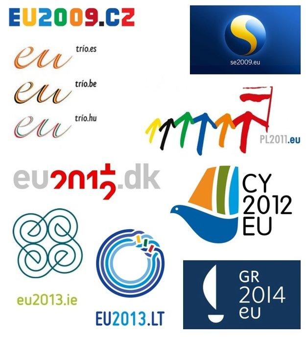 Logá niektorých krajín, ktoré predsedali Rade Európskej Únie v posledných rokoch.