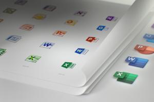 Vľavo prechádzajúce verzie ikôn programov Notes, Outlook, Powerpoint, Word a Excel. Vpravo je ich nový vzhľad.