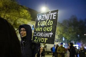 Protest proti uväzneniu aktivistov Greenpeace v Bratislave, 3. decembra 2018.