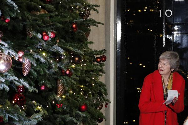Britská premiérka Theresa Mayová rozsvecuje vianočný stromček pred svojim sídlom v Downing Street.