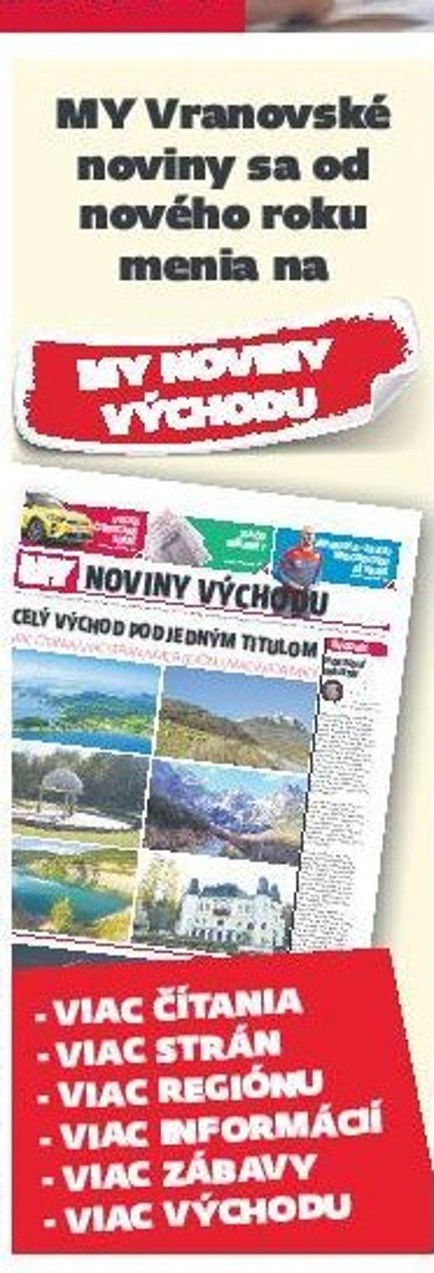 Vranovské noviny sa menia na MY Noviny východu.