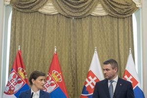 Predseda vlády Peter Pellegrini a srbská premiérka Ana Brnabičová.
