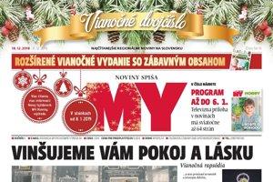 Titulná strana týždenníka MY Noviny Spiša, vianočné dvojčíslo 50-51, 2018.