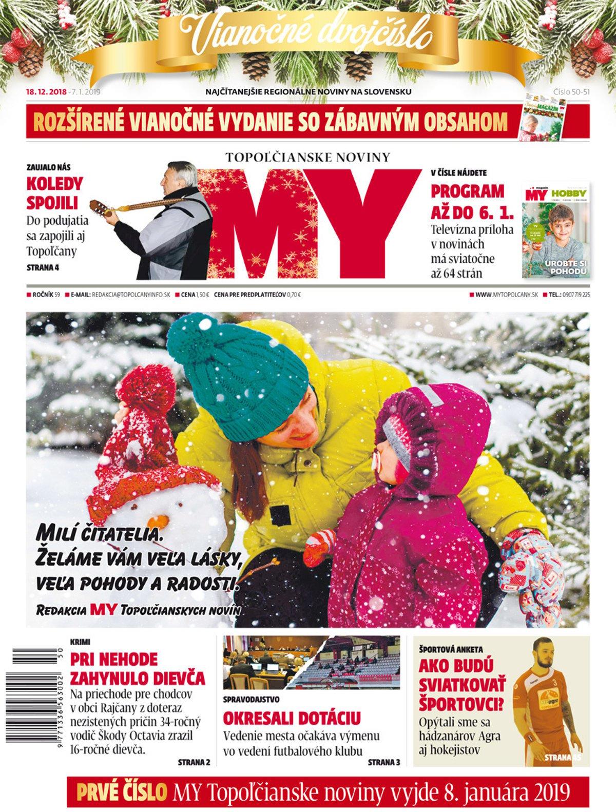 ea360ac0b Vyšlo Vianočné číslo MY Topoľčianskych novín Dnešok - SME | MY Topoľčany