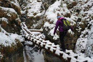 Na snímke turistka kráča po drevenej lávke v rokline Suchá Belá v Slovenskom raji.