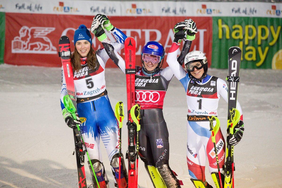 77be85fda Zľava: Petra Vlhová, Mikaela Shiffrinová a Wendy Holdenerová po slalome v  Záhrebe.
