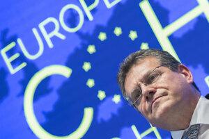 """29. november 2018. Podpredseda Európskej komisie pre Energetickú úniu Maroš Šefčovič počas tlačovej konferencie na záver summitu skupiny """"Priatelia kohézie""""."""