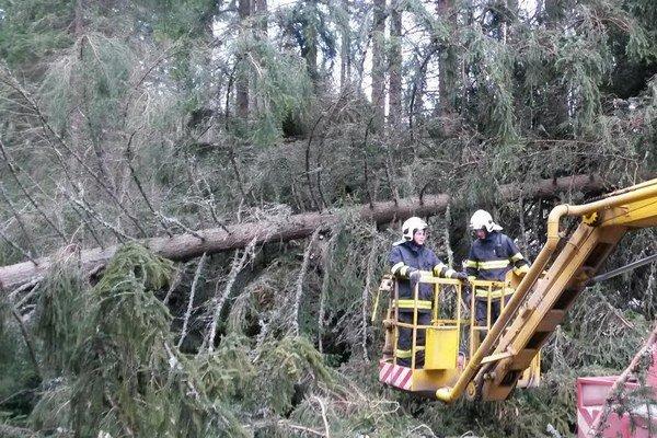 Silný nárazový vietor vylamuje stromy. Liptovskí hasiči ich od rána odstraňujú.