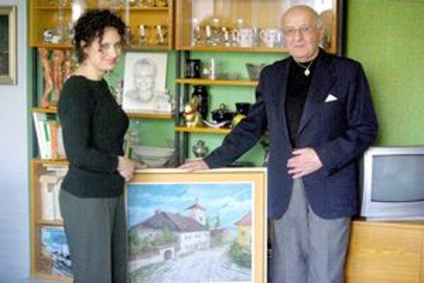 Jubilant František Jakúbek s obrazom časti starej Ilavy.