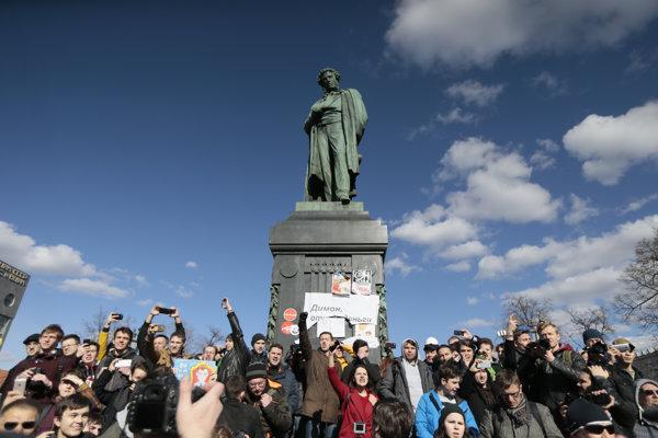 Protikorupčné protesty v Moskve v máji 2017.