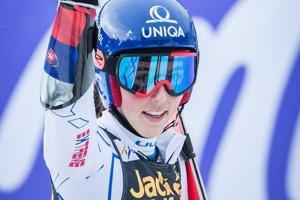 Petra Vlhová v cieli obrovského slalomu žien v Maribore.