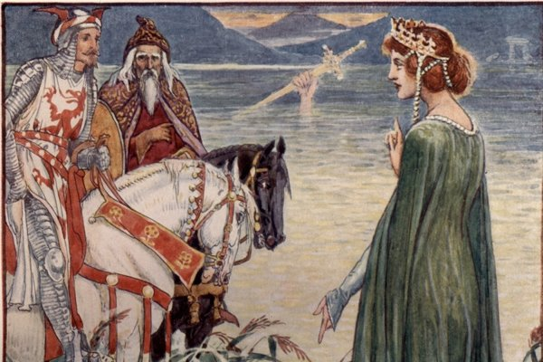 Kráľ Artuš (vľavo) a čarodejník Merlin (v strede) sa pýtajú Dámy z jazera na mýtický meč Excalibur.