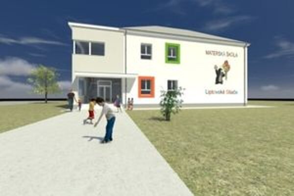 Vizualizácia budovy materskej školy. Rekonštrukčné práce na nej sú dočasne zastavené.