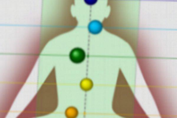 Čakry, vyznačené na obrázku farebne, ak fungujú správne, mali by byť v jednej priamke.