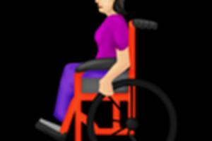 Žena na vozíku.