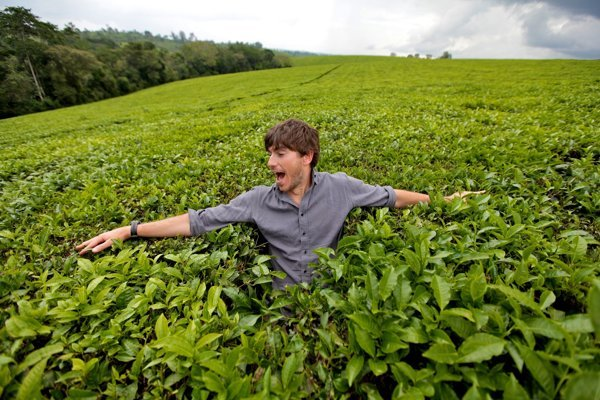 Moderátor Simon Reeve na jednej z afrických čajových plantáži.