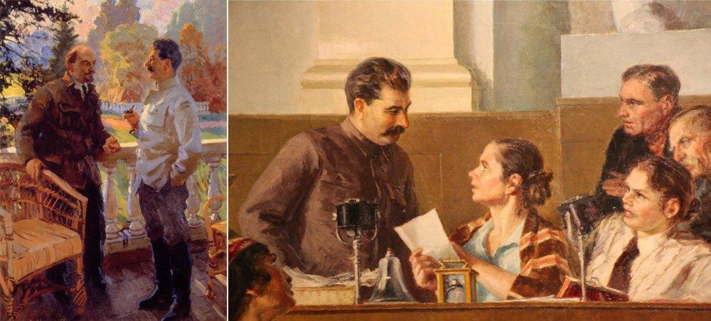 V. svarog: Lenin a Stalin v Gorkách v roku 1923 (1938), maľba. Stalin pracuje s mladými kolchozníkmi, maľba, 1936