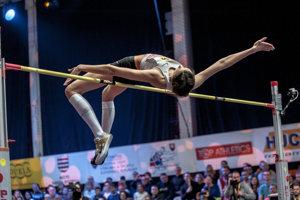 Ruská reprezentantka Marija Lasickiené počas súťaže žien 25. ročníka výškarského mítingu Banskobystrická latka 2019 v hale na Štiavničkách