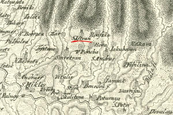Svätý Štefan na mape roku 1736.
