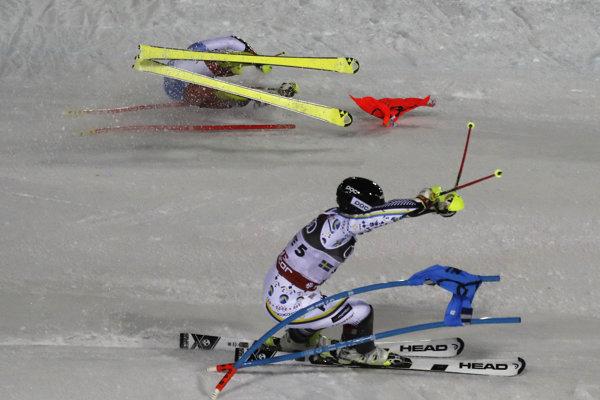 Momentka z tímovej súťaže na MS v alpskom lyžovaní 2019.