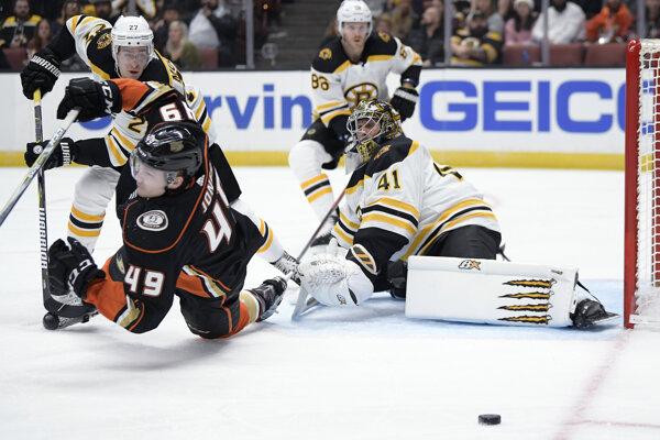 Brankár Jaroslav Halák v drese Bostonu Bruins.