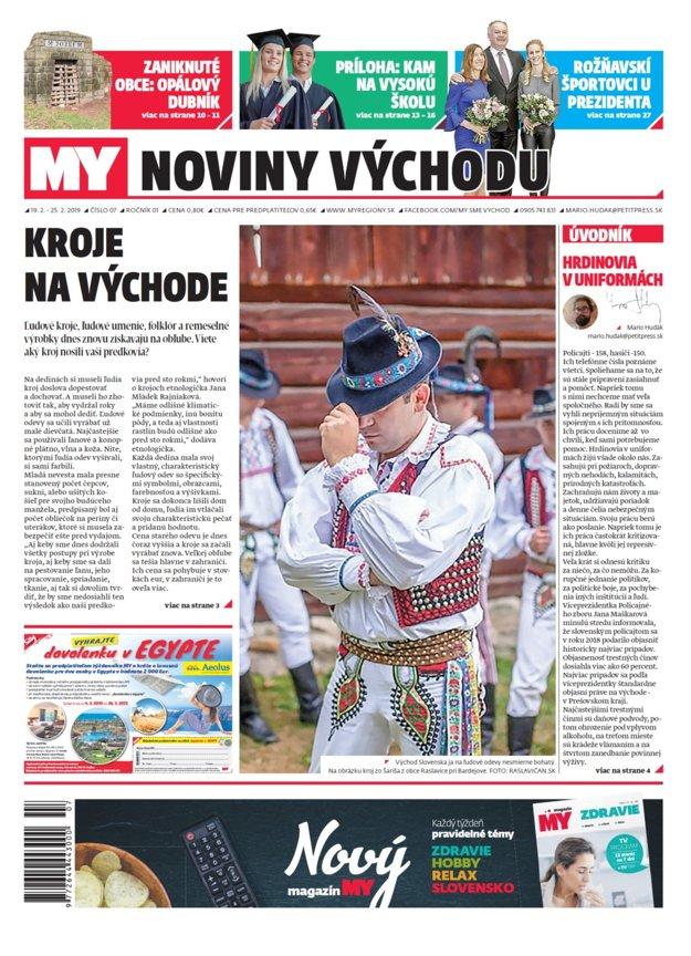 Titulka nového vydania týždenníka MY Noviny východu č.7.