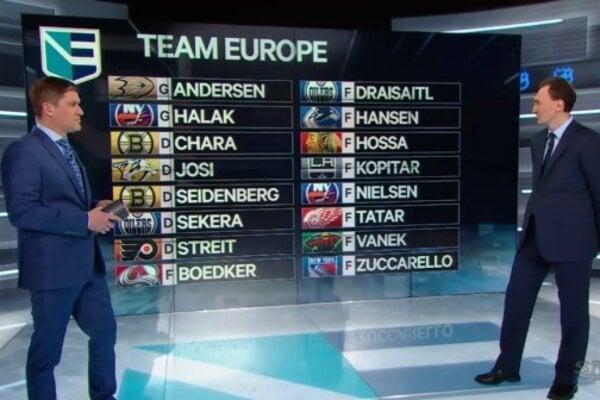 Generálny manažér výberu Európy Miroslav Šatan (v pravo) predstavil prvých 16 nominovaných hokejistov.