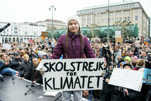 Aktivistka Greta Thunbergová na proteste v Hamburgu.