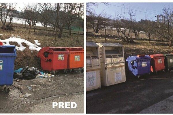 Upratovanie na stojisku smetných nádob.