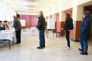 Ľudia čakajú v rade na voľby v obci Stará Turá.