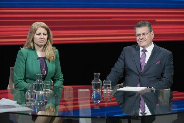 Kandidáti na prezidenta Slovenskej republiky - Zuzana Čaputová a Maroš Šefčovič. Voliči rozhodujú v druhom kole volieb o novej hlave štátu.