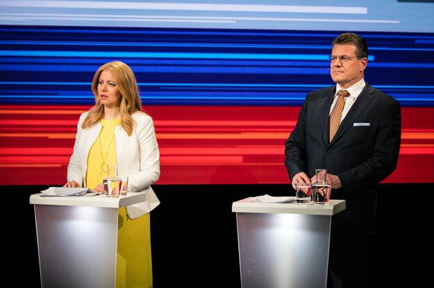 Zuzana Čaputová a Maroš Šefčovič v poslednej predvolebnej debate na RTVS.